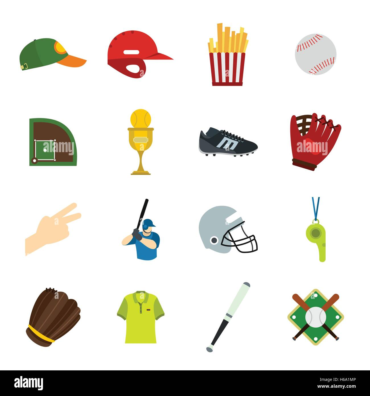 American football flat icons - Stock Image