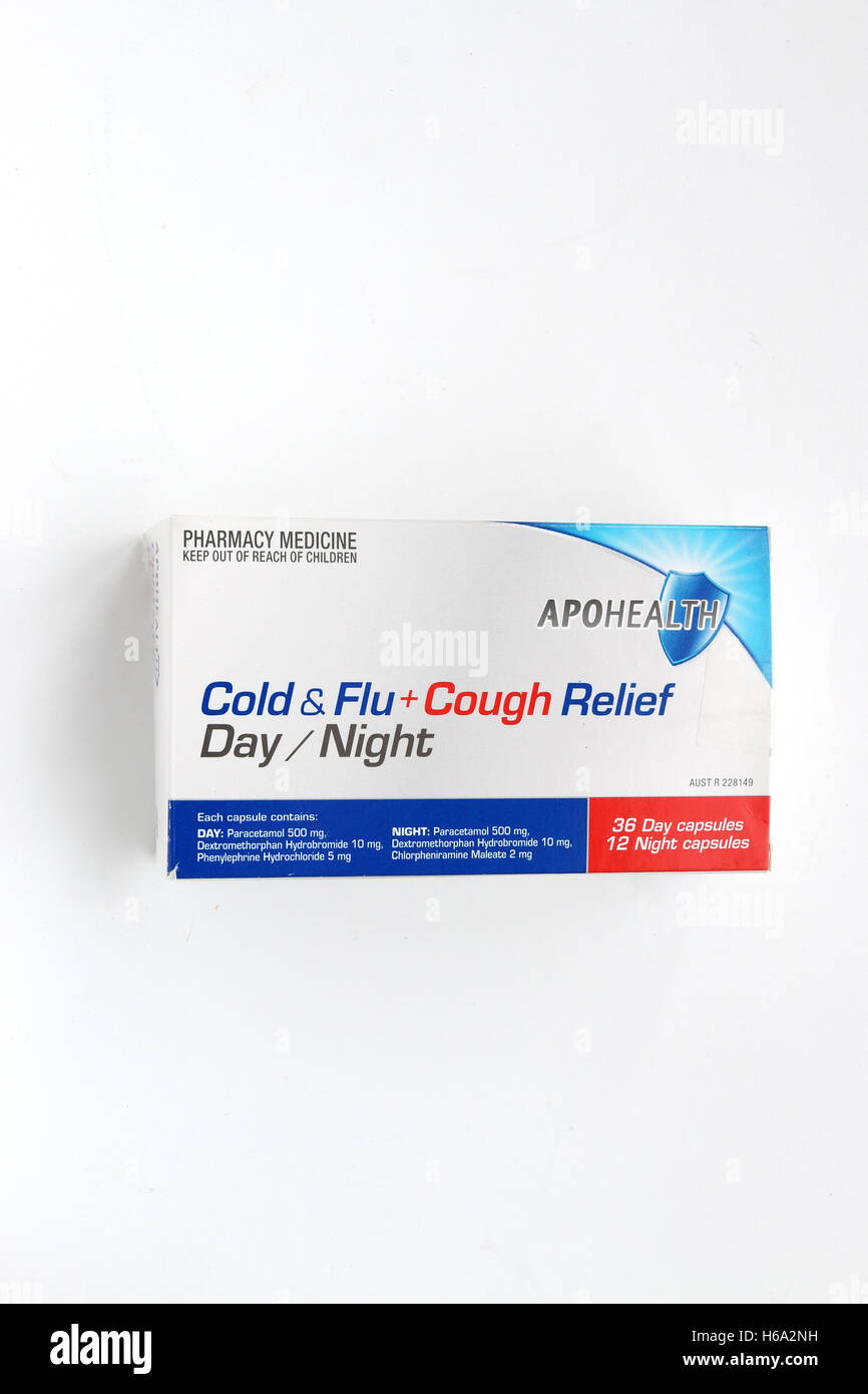 Close up of Apohealth cold and flu relief day and night tablets isolated against white background Stock Photo