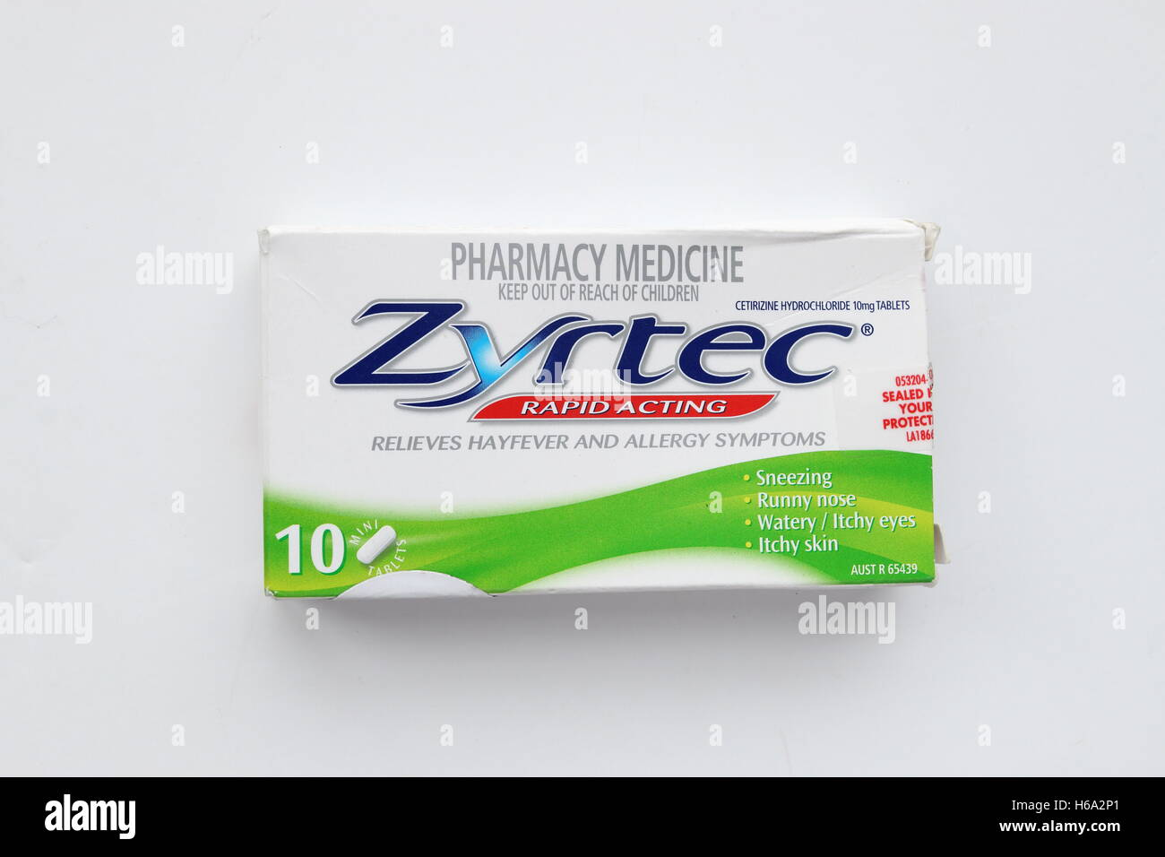 Zyrtec Allergies Relief Isolated Against White Background Stock