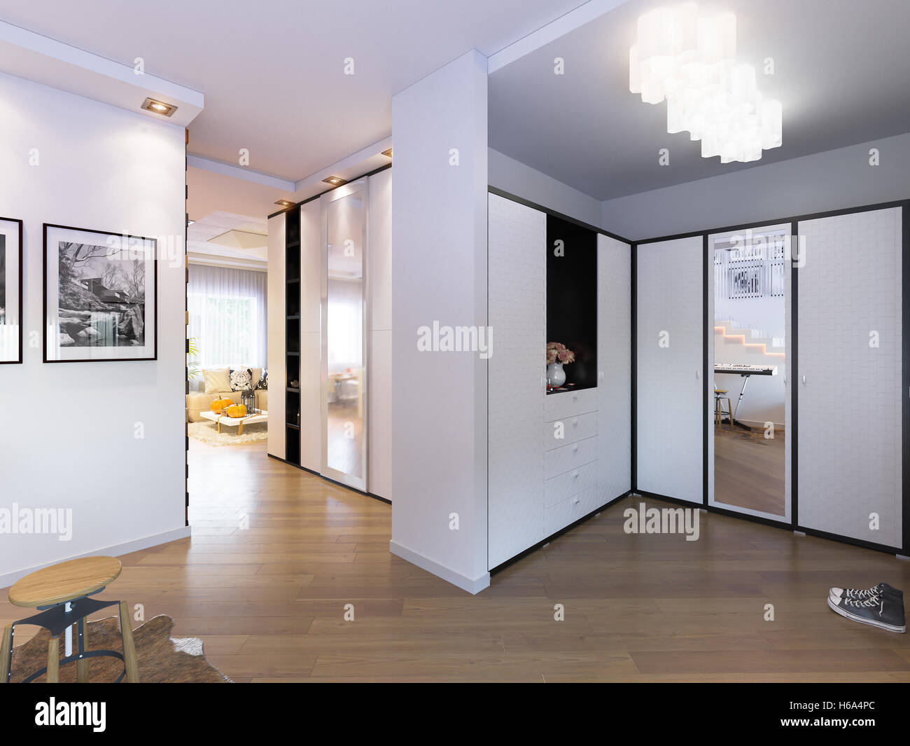3d Illustration Hall Interior Design In A Modern Minimalist Style ...
