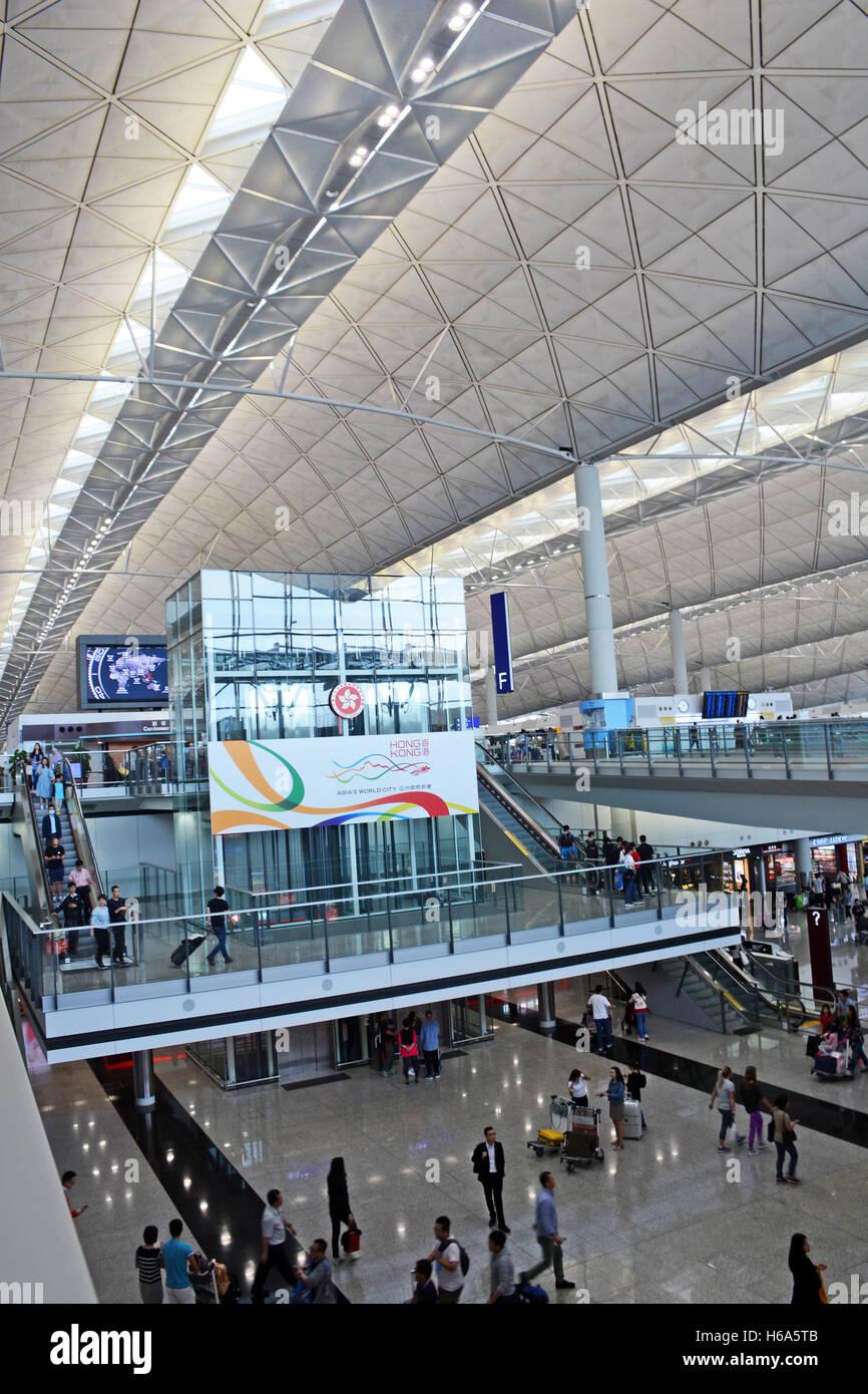 interior of terminal 1 of Hong Kong international airport China - Stock Image