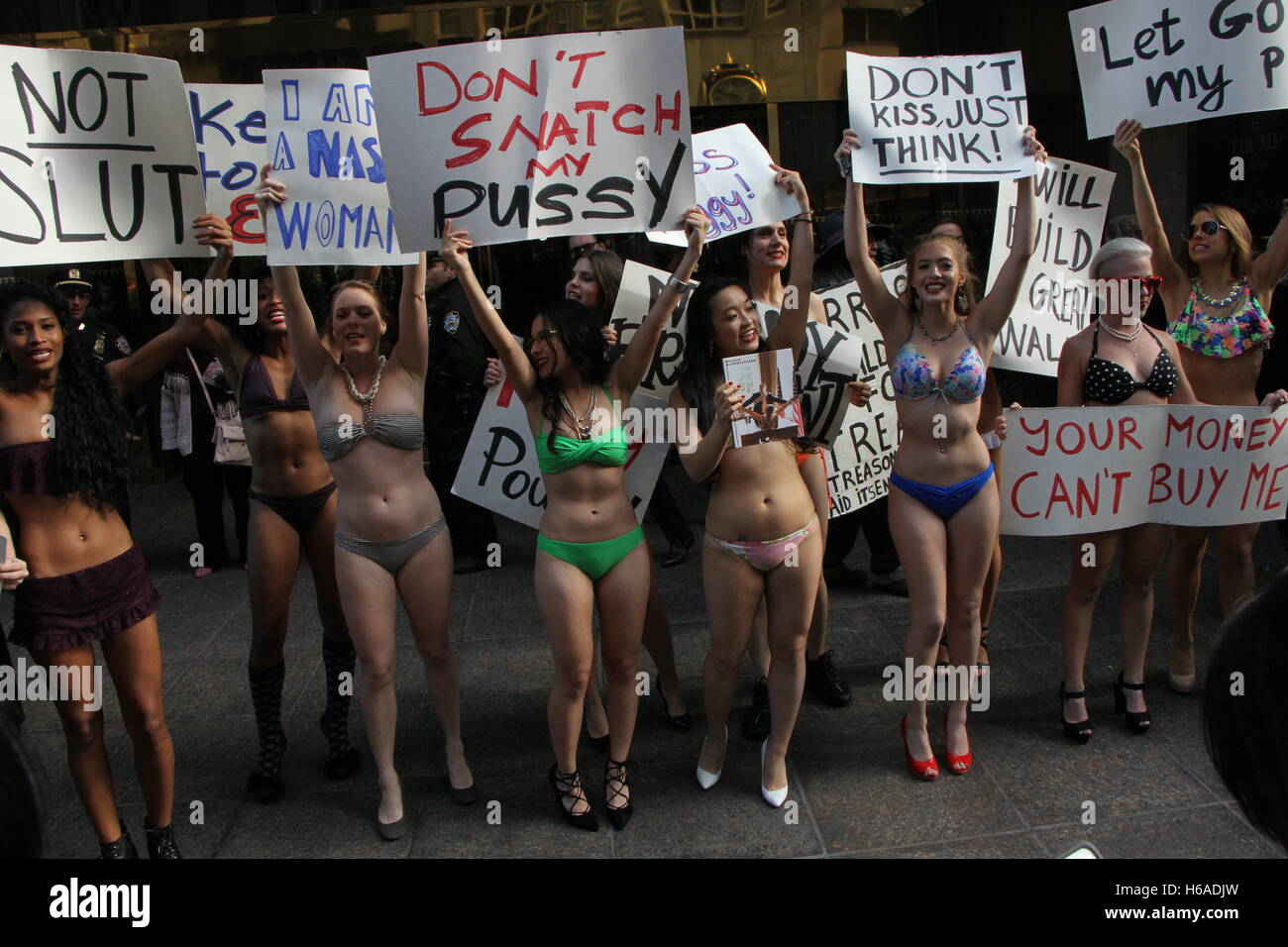 Girls in bikinis protest trump Bikini Clad Women High Resolution Stock Photography And Images Alamy