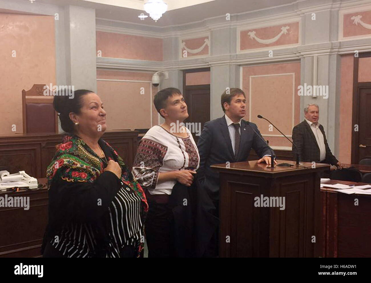 Moscow, Russia. 26th Oct, 2016. Ukraine's Verkhovna Rada member Nadezhda Savchenko (2nd L) and her lawyer Ilya - Stock Image