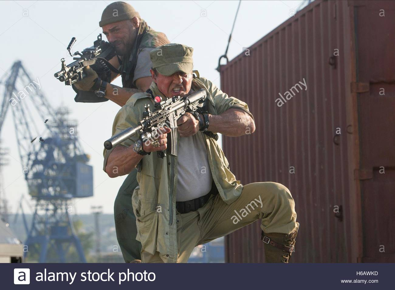 RANDY COUTURE & SYLVESTER STALLONE THE EXPENDABLES 3 (2014) - Stock Image