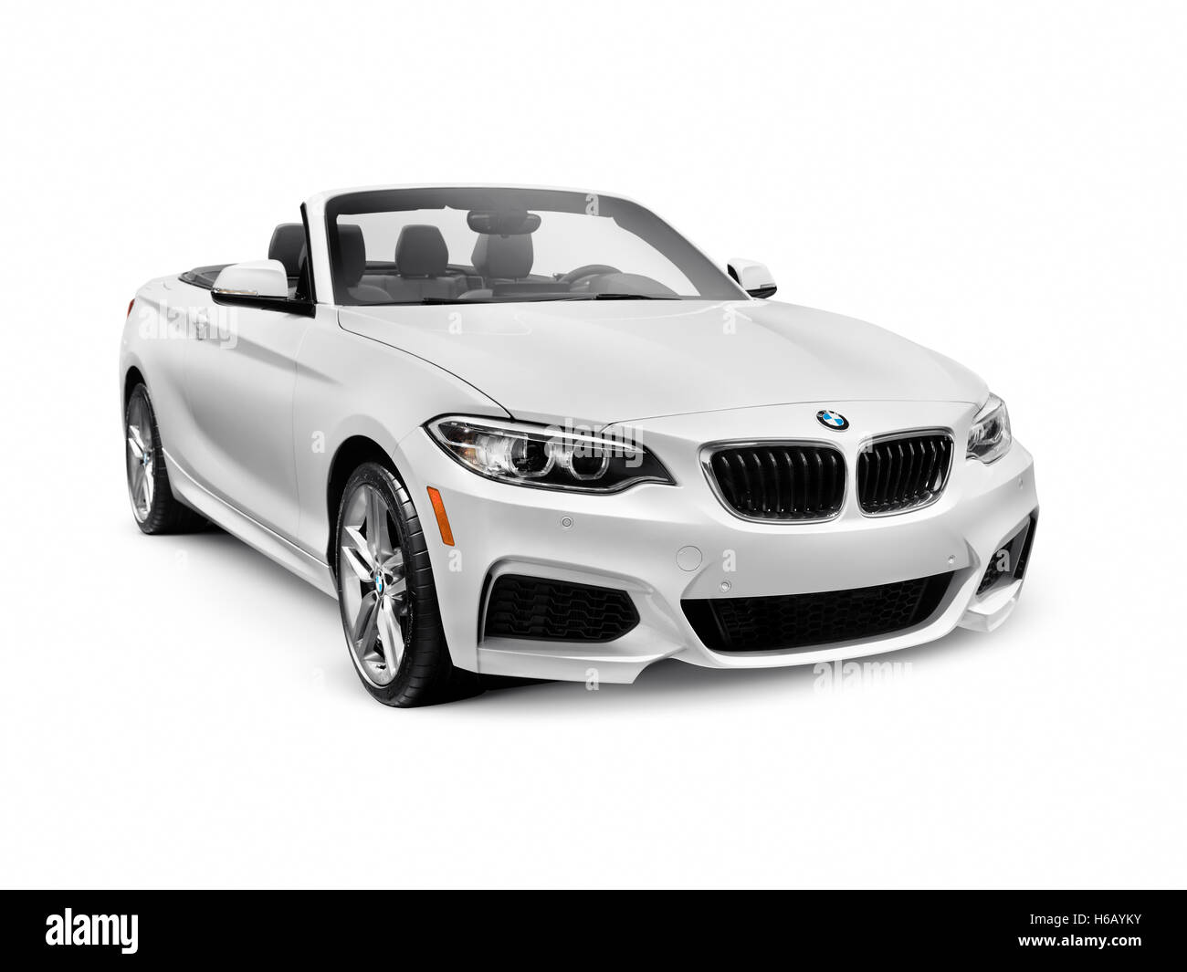 White 2016 BMW 2 Series Cabriolet Luxury Car isolated on white background with clipping path - Stock Image