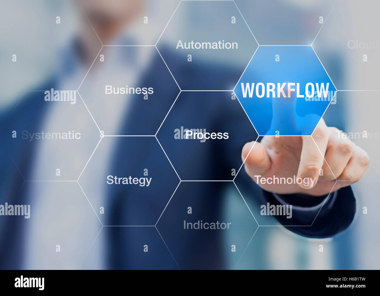 Concept about workflow to improve efficiency in process with automation and technology, button with person in background - Stock Image