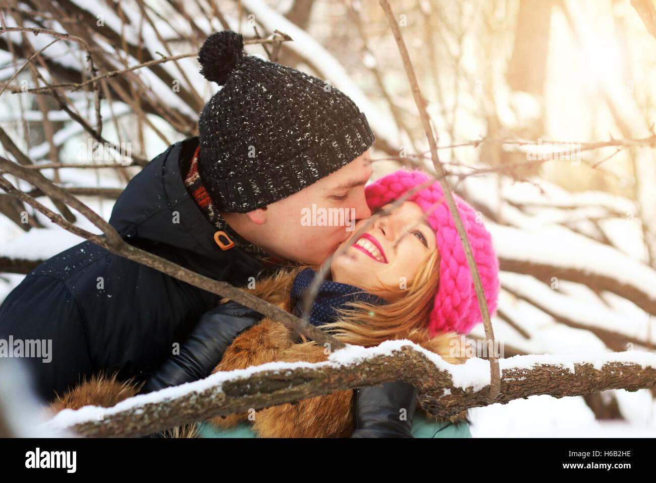 heterosexuals on a date in the winter - Stock Image