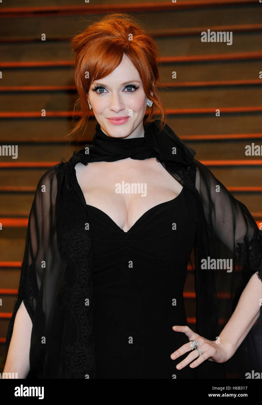 Actress Christina Hendricks attends the 2014 Vanity Fair Oscar Party on March 2, 2014 in West Hollywood, California. - Stock Image