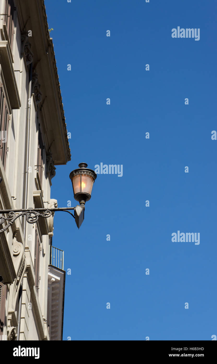 Old street lamp on  blue sky with  copy space - Stock Image