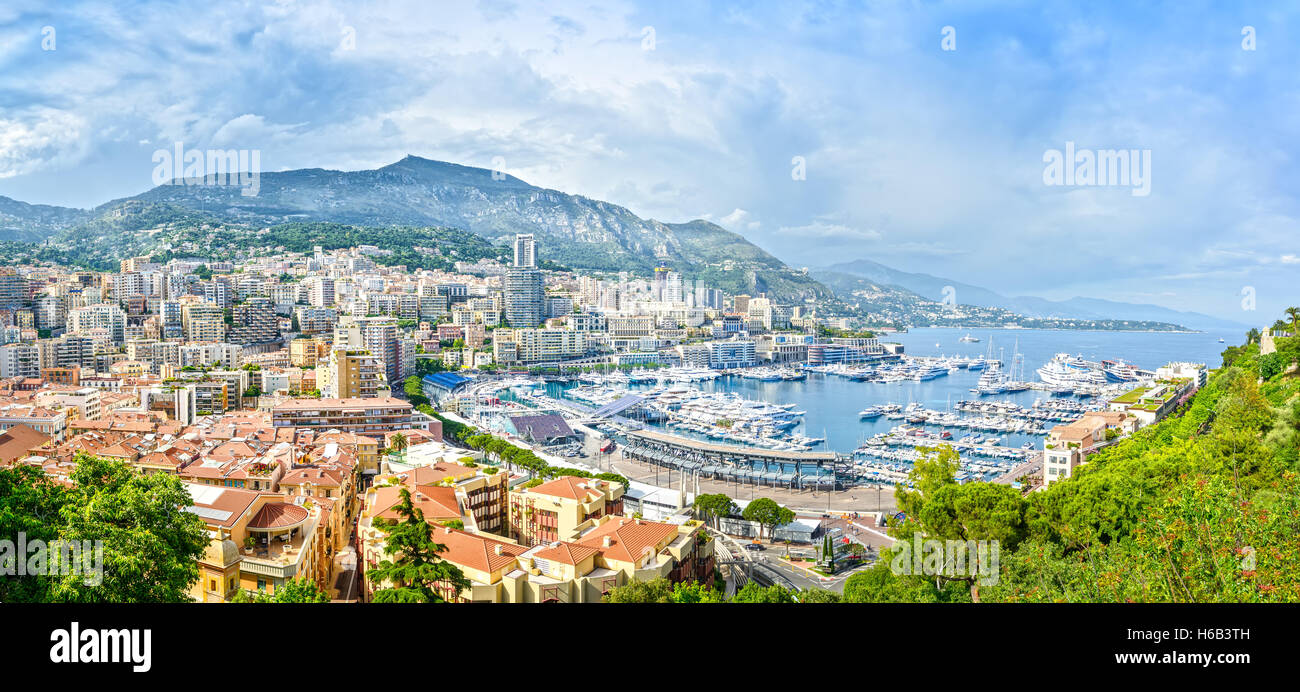 Monaco Montecarlo principality aerial view cityscape. Skyscrapers, mountains and marina. Azure coast. France, Europe. - Stock Image