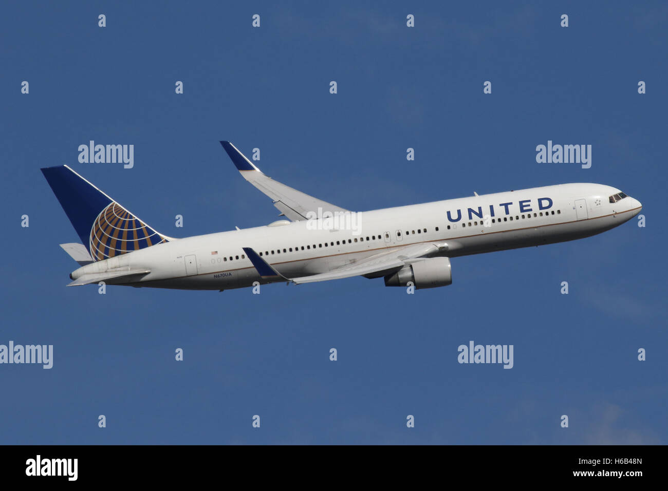 UNITED 767 WINGLETS - Stock Image