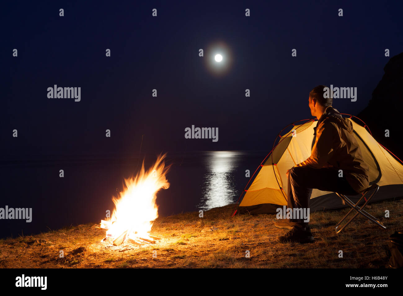 Tourist in a camp - Stock Image