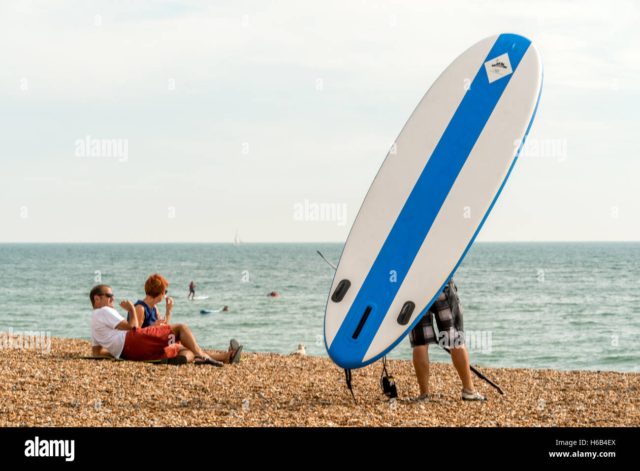 Surfers and sunbathers on Brighton beach - Stock Image