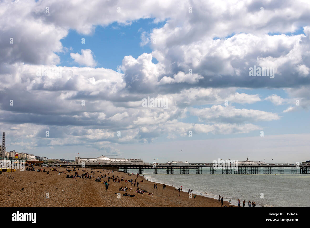 A quiet August day on Brighton beach - Stock Image