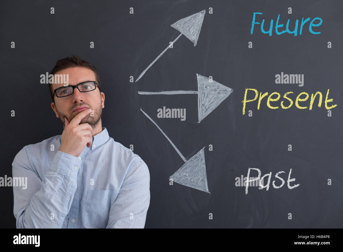 Businessman is trying to find solutions for his future - Stock Image