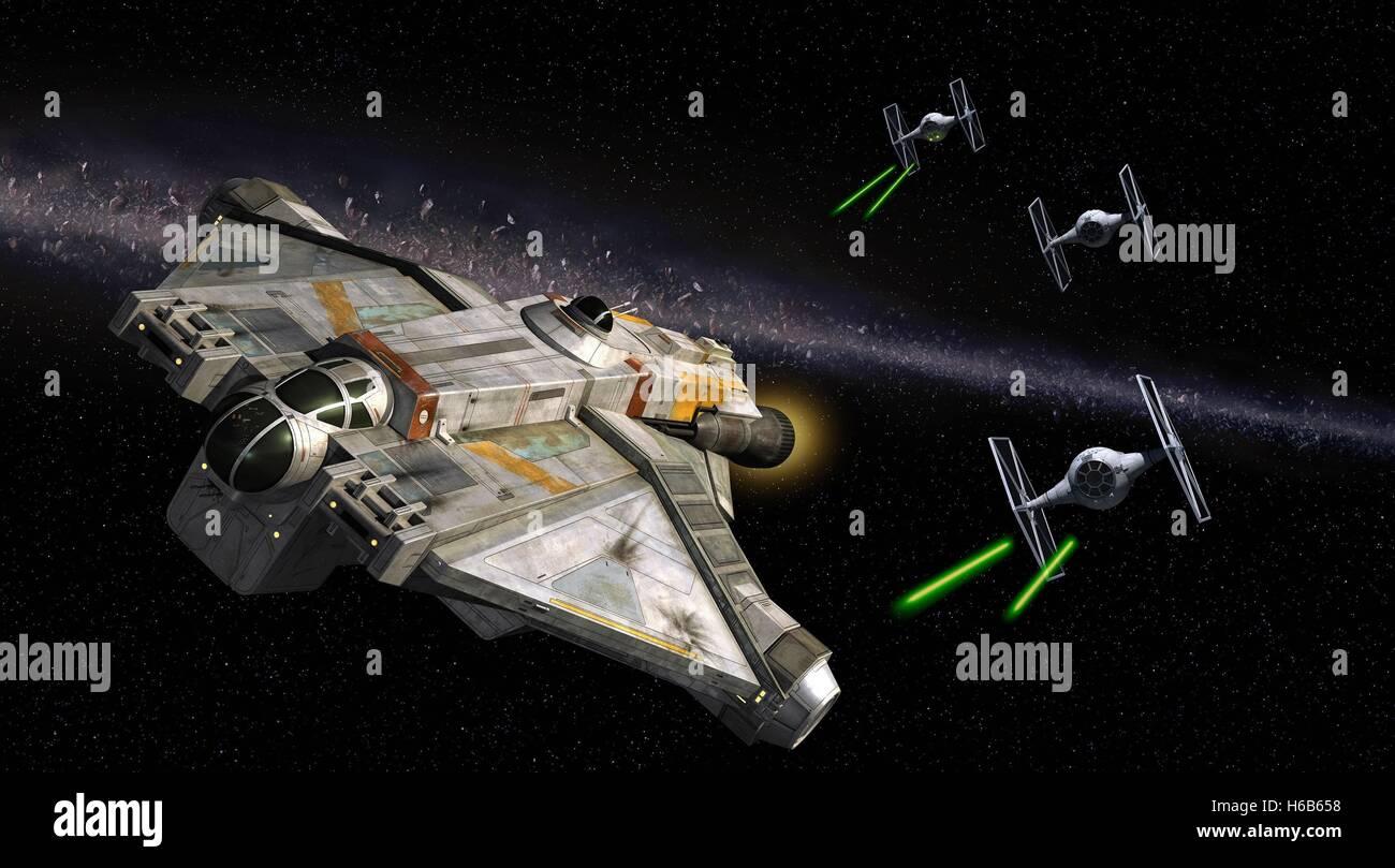 TIE-FIGHTERS ATTACK SPACESHIP STAR WARS REBELS (2014) - Stock Image