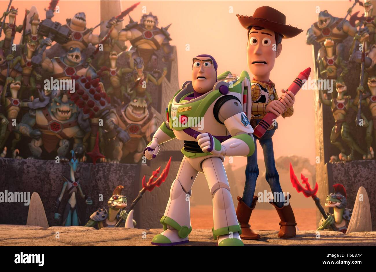 BUZZ LIGHTYEAR & WOODY TOY STORY THAT TIME FORGOT (2014) - Stock Image
