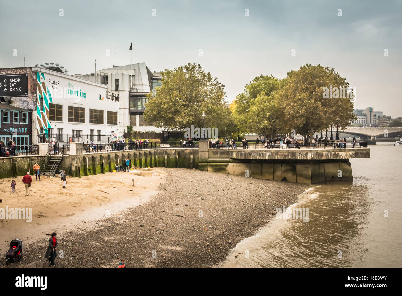 Proposed site of the controversial Garden Bridge on London's South Bank, Waterloo, Lambeth, UK - Stock Image