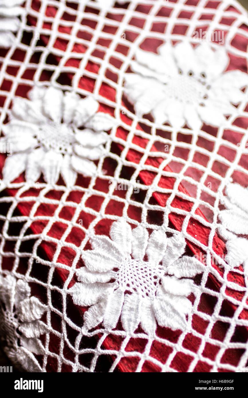 Bobbin lace made by artisan women in Sambaqui, at Santo Antonio de Lisboa district. Florianopolis, Santa Catarina, - Stock Image