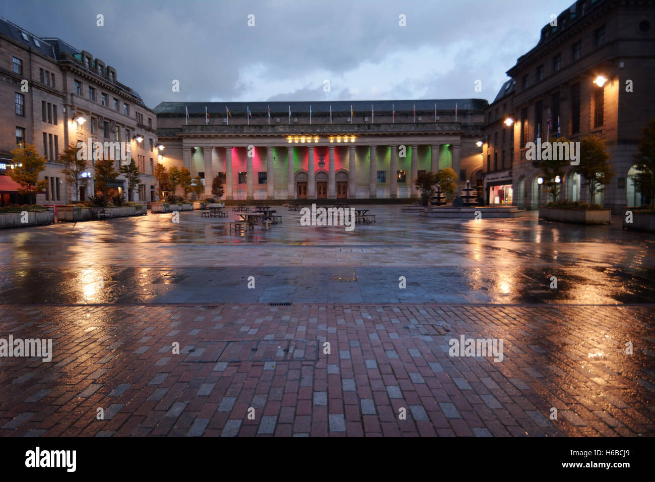 United Kingdom, Scotland, Dundee, the City Square, downtown, late evening - Stock Image