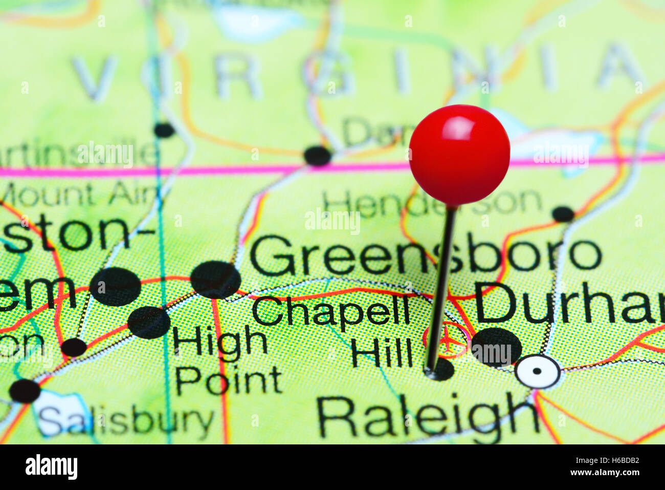 Chapell Hill pinned on a map of North Carolina, USA - Stock Image
