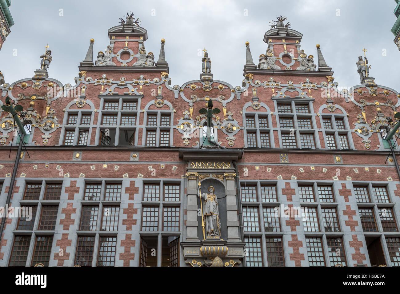 The Armoury Gdansk Poland. Dutch Renaissance architecture - Stock Image