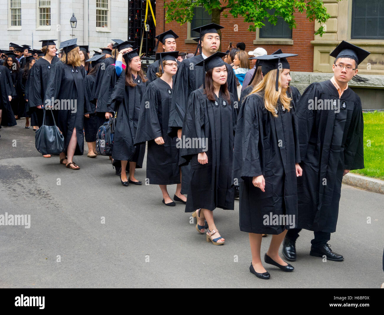 Wearing graduation caps and gowns, multiracial Harvard University ...