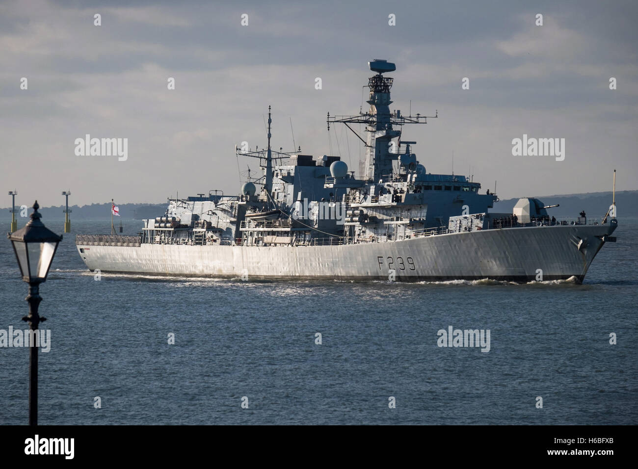 The Type 23 Frigate, HMS Richmond (F239), returning to her home port of Portsmouth. - Stock Image