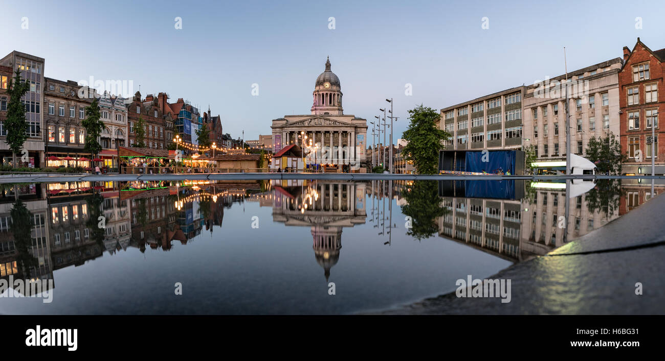 The Council House seen from across The Old Market Square, Nottingham, England, UK - Stock Image