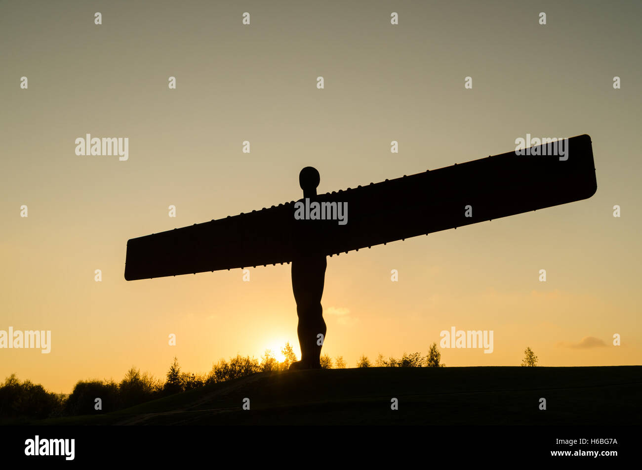 Sunset at The Angel of the North, Gateshead, England - Stock Image
