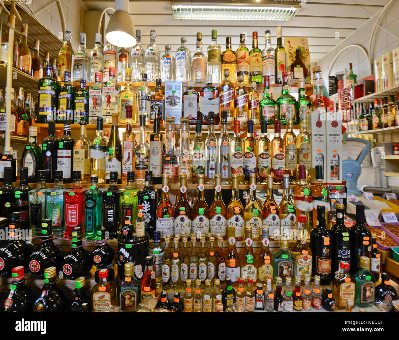 Liqueur and spirits store. Great Market Hall, Budapest - Stock Image