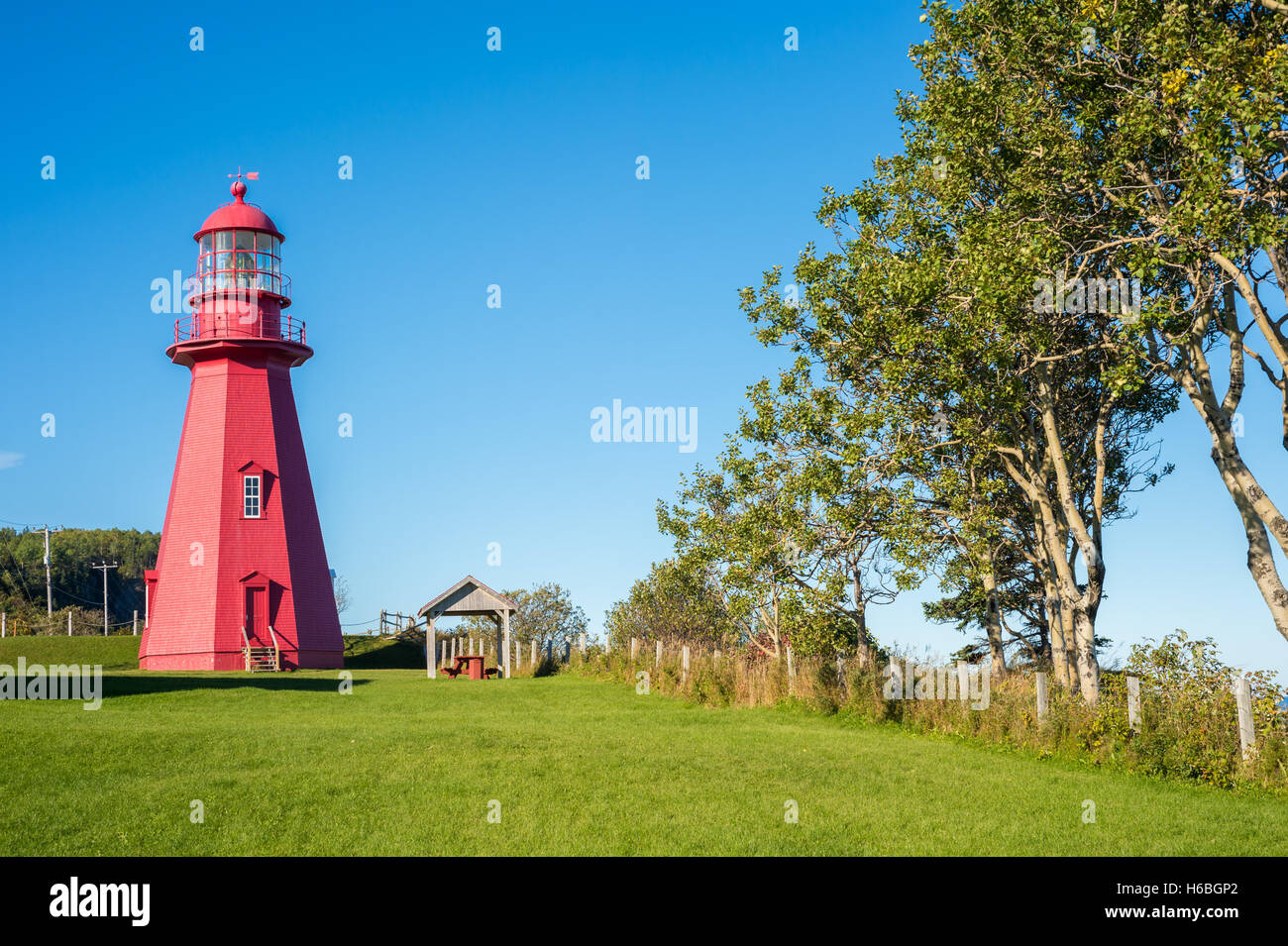 Red Lighthouse in La Martre, Quebec, Canada (Gaspe Peninsula) - Stock Image