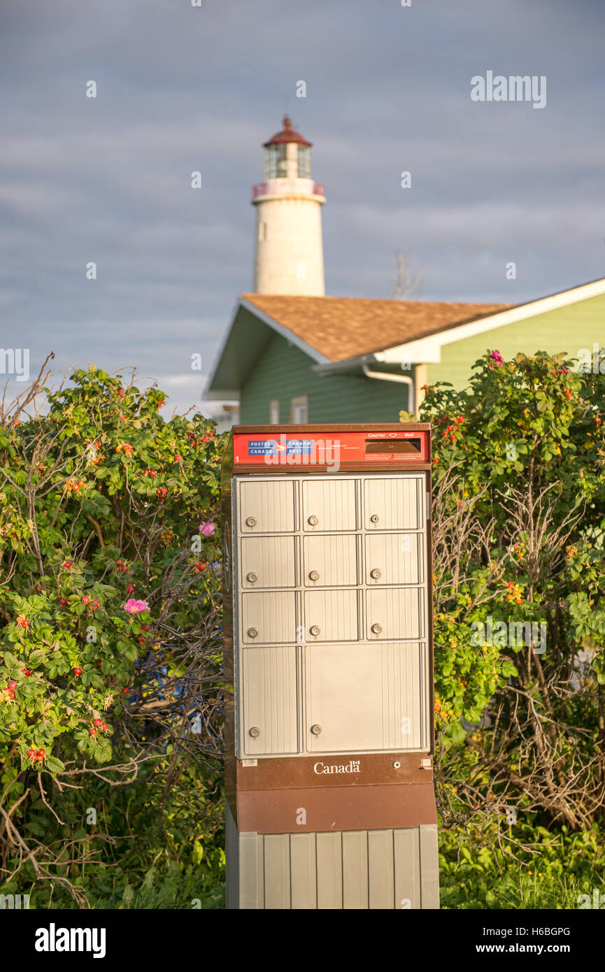 Canada Post Rural Group Mailboxes (Cap-des-Rosiers, Quebec, Canada) Stock Photo