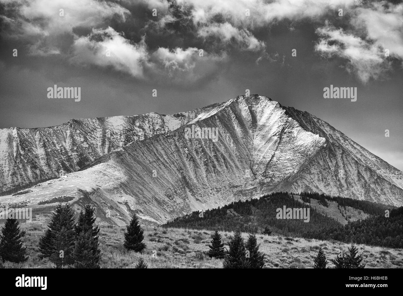 Snow Dusted Mountain - Stock Image