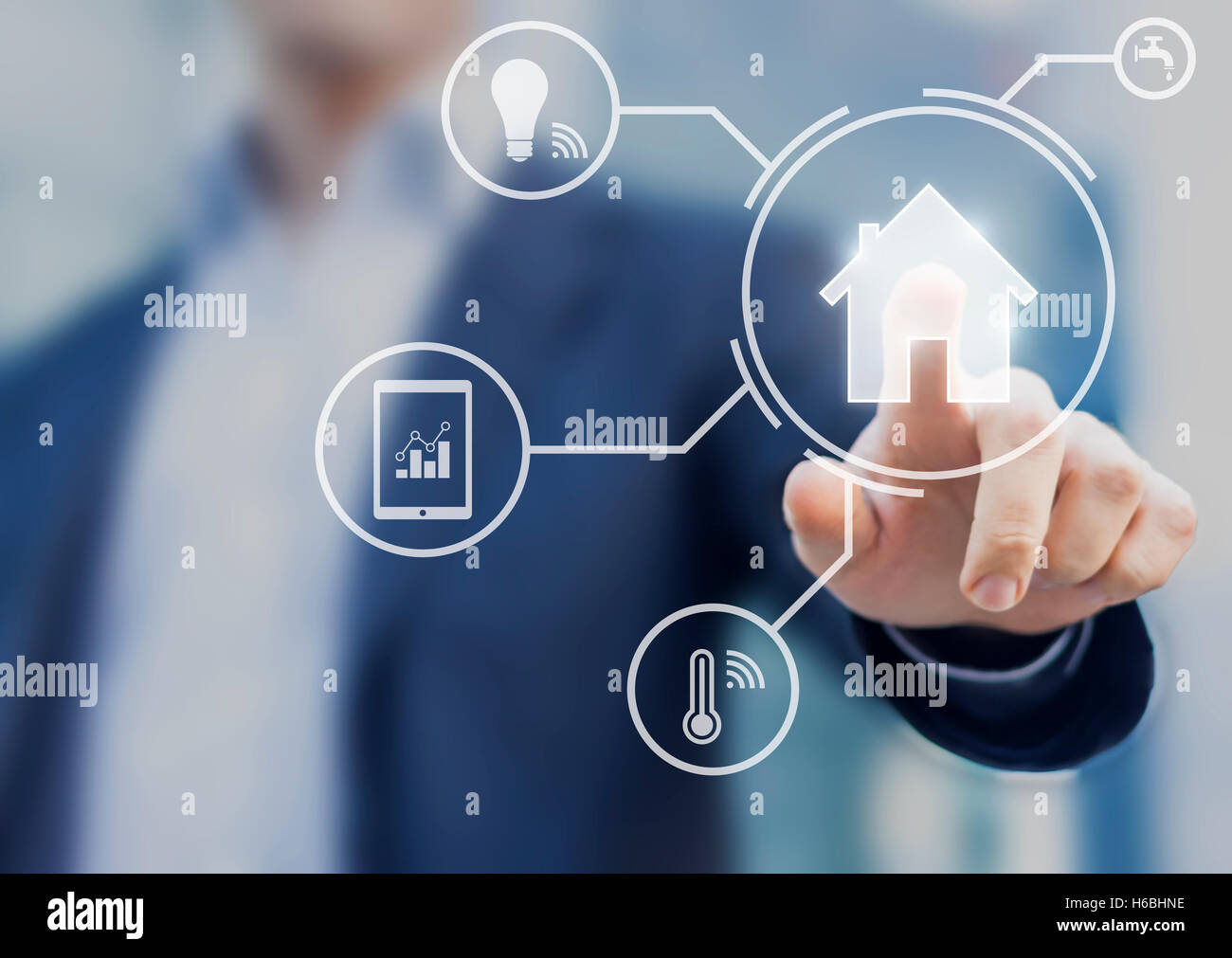 Smart home interface with button and icons providing control to temperature and lamps from mobile app - Stock Image