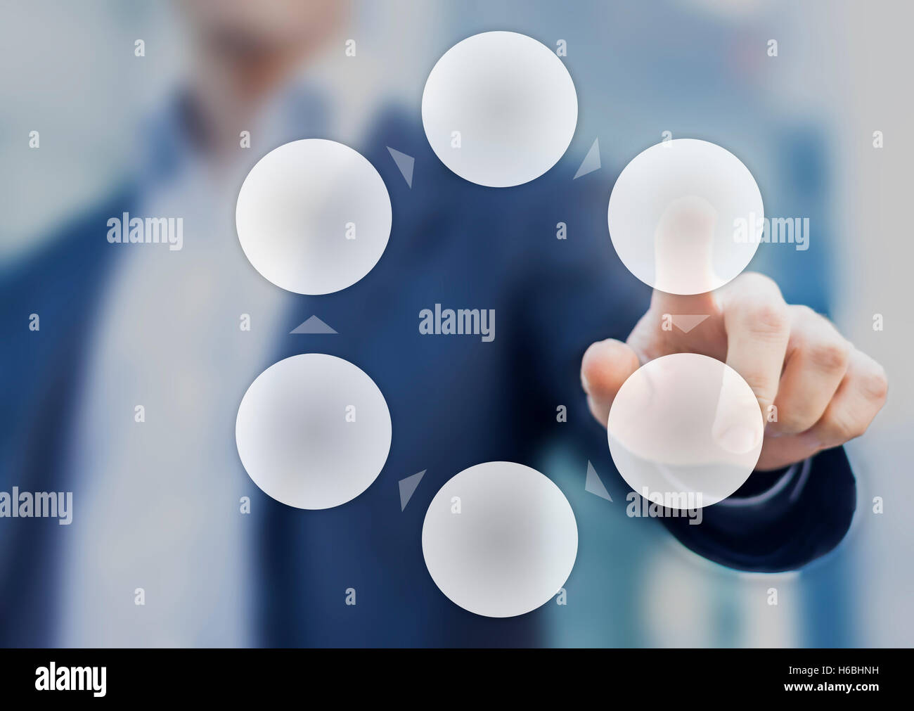 Presentation of a cycle business process diagram with six empty circles and a businessman in background - Stock Image
