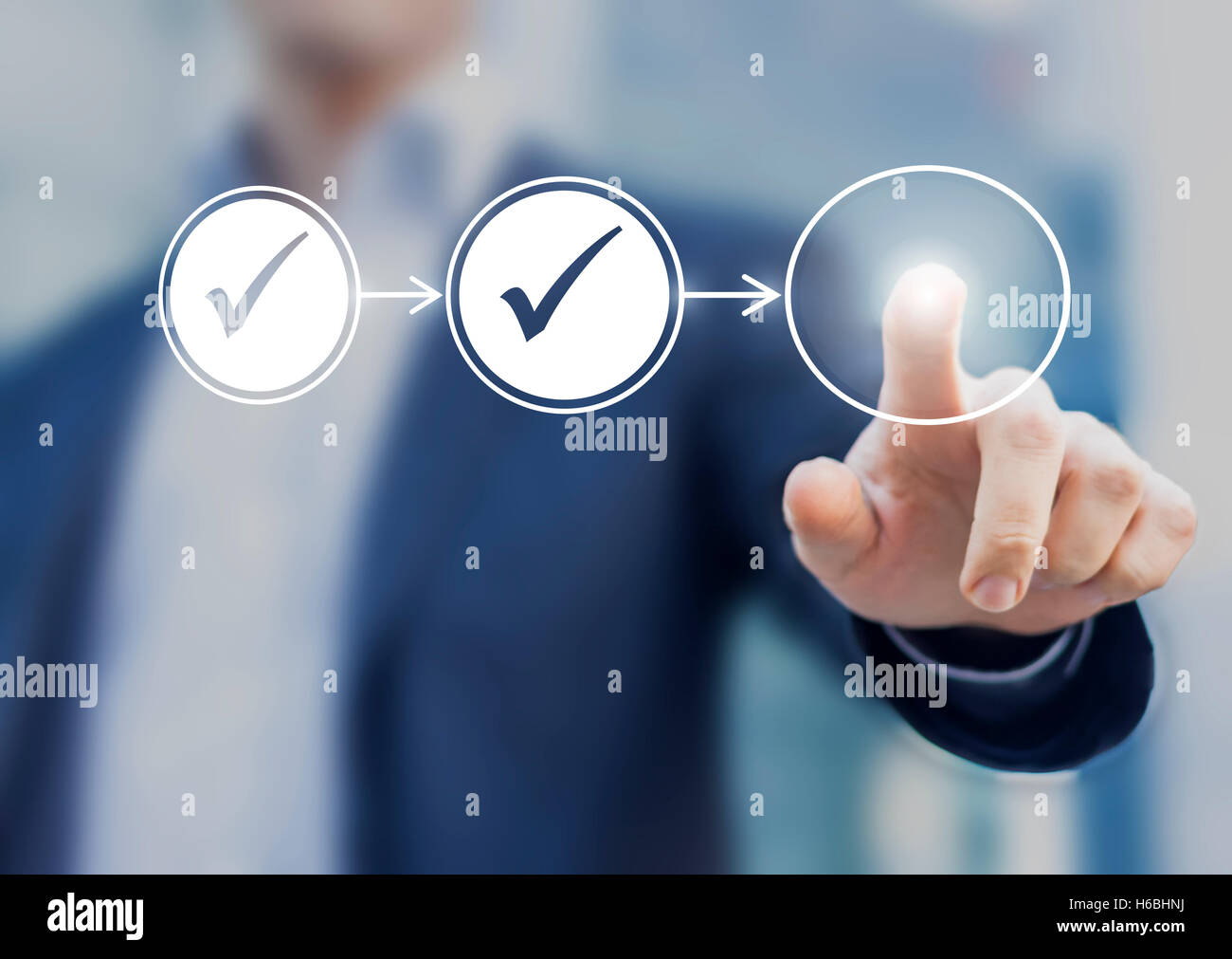 Business process workflow illustrating management approval, flowchart with businessman in background - Stock Image