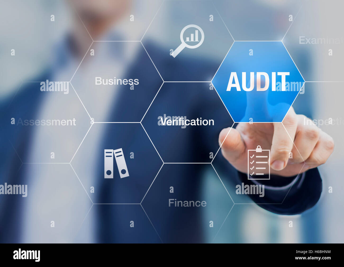 Concept about financial audit to verify the quality of accounting in businesses with auditor in background - Stock Image