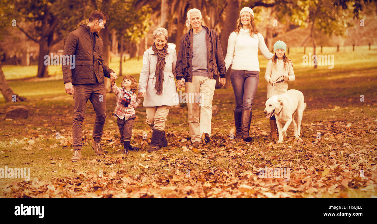 Smiling extended family walking together - Stock Image
