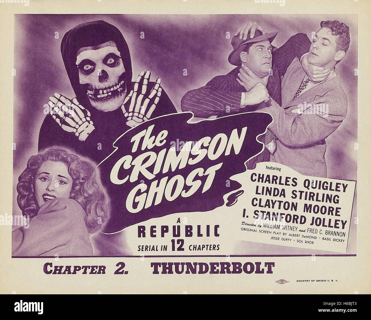 The Crimson Ghost  - Movie Poster - - Stock Image