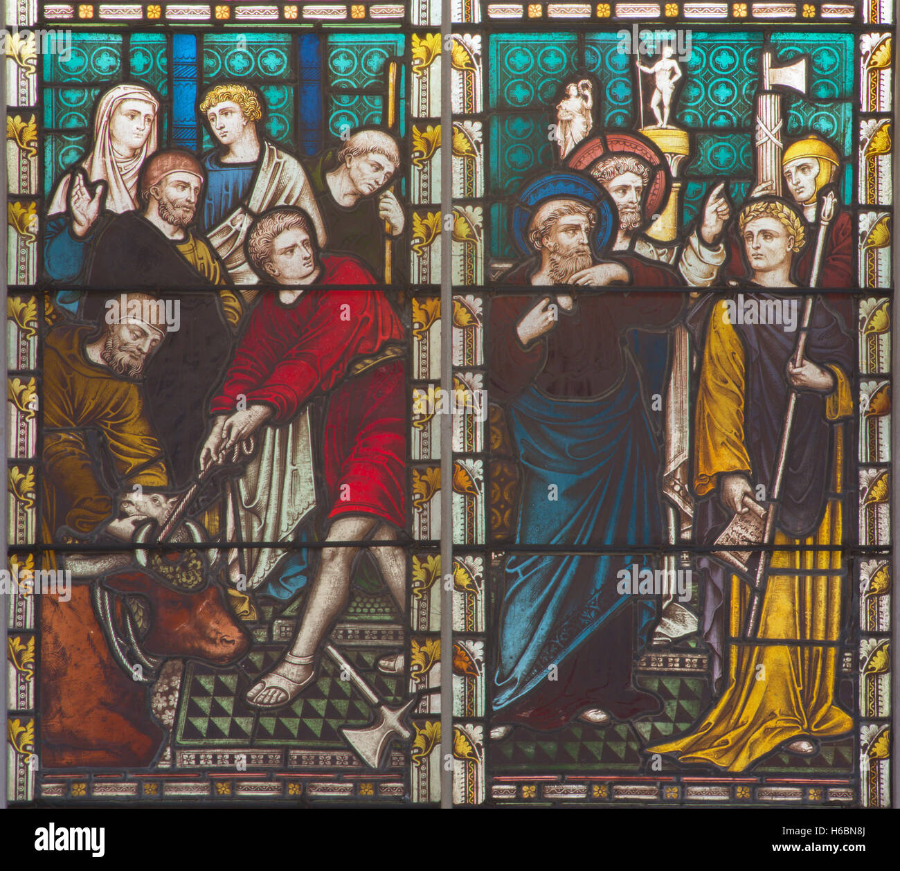 ROME, ITALY - MARCH 9. 2016: The scene St. Paul against the pagan offertory of animals on the stained glass - Stock Image