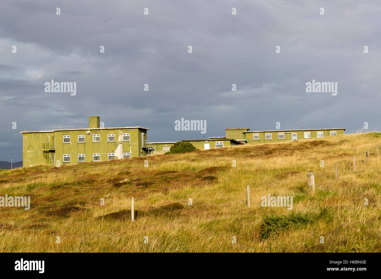 Nissan Huts at Stornoway Airport Isle of Lewis Western Isles Outer Hebrides Scotland United Kingdom Stock Photo