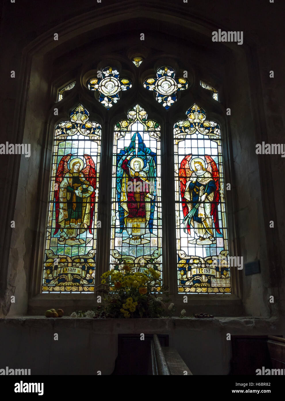 Stained glass window in St John the Baptist church Finchingfield Essex England 2016 Stock Photo
