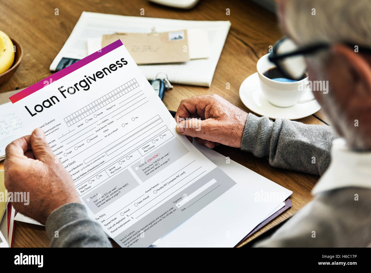 Loan Forgiveness Debt Filling Application Concept - Stock Image