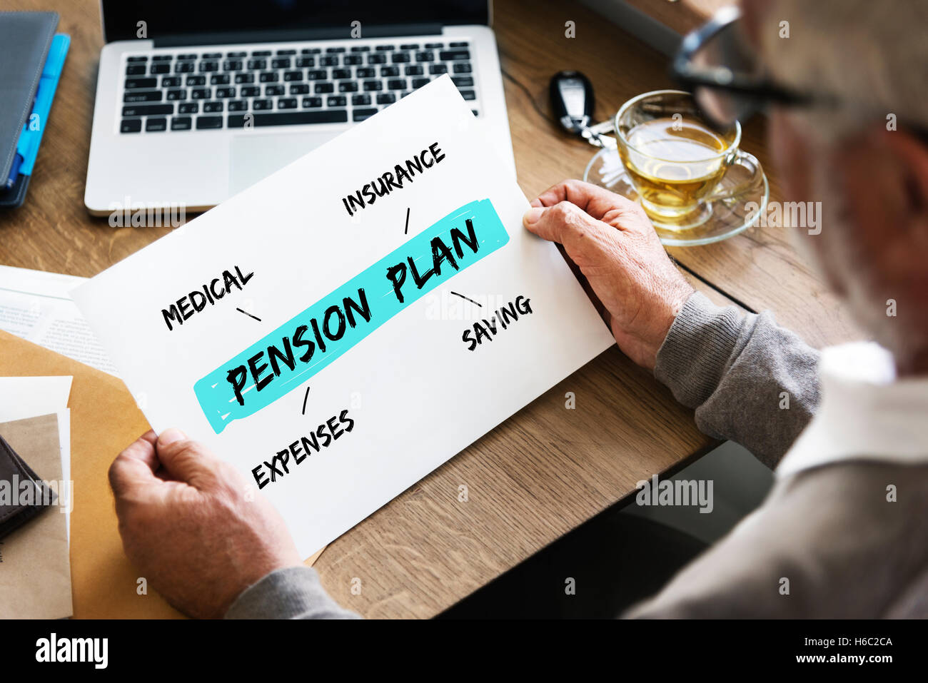 Pension Plan Investment Retirement Diagram Concept - Stock Image
