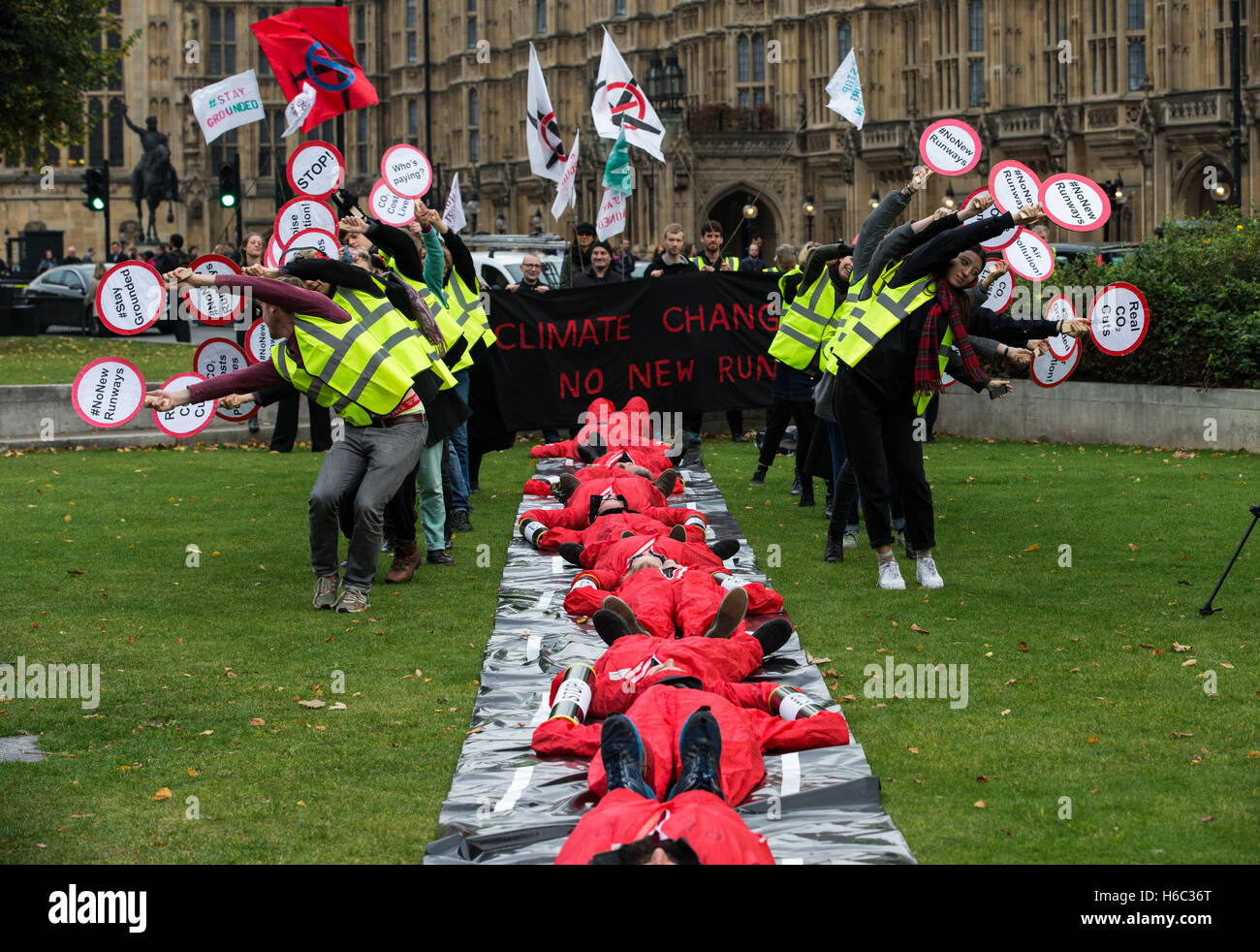 Activists from Plane Stupid and others demonstrate against the decision by Parliament to build a third runway at - Stock Image