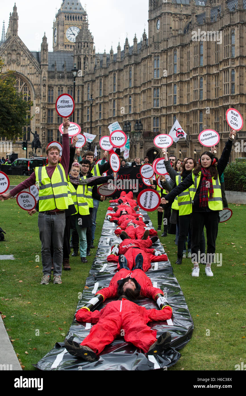 Activists from Plane stupid and others,demonstrate against the Government's decision to build a third runway - Stock Image