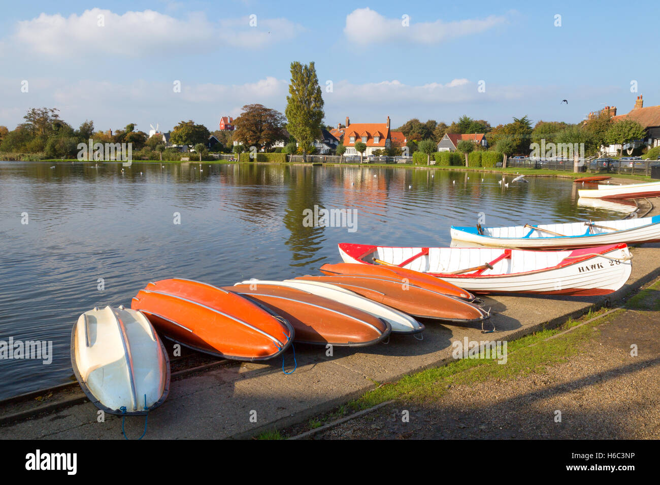 Boats at Thorpeness Meare, Thorpeness village, Suffolk, East Anglia England UK - Stock Image
