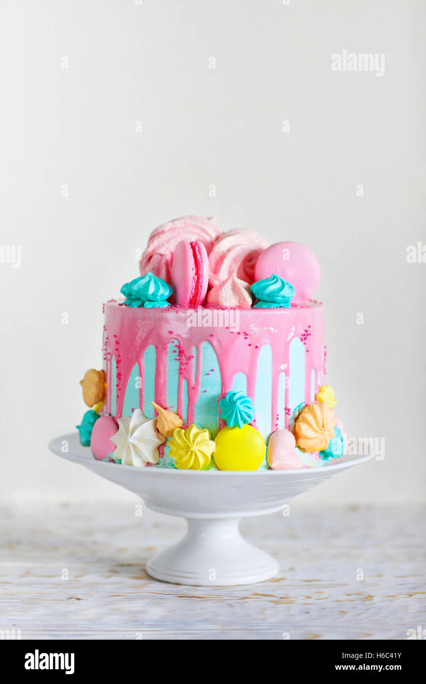 Birthday cake Modern style Merengue Stock Photo 124427127 Alamy