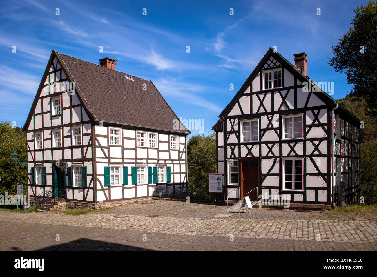 Germany, North Rhine-Westphalia, Hagen, Hagen Open-air Museum, half-timbered houses. Stock Photo